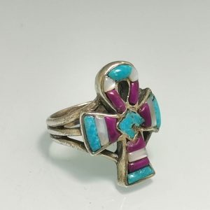 Ankh 925 Sterling Silver Ring Egyptian Sacred Symbol Handmade Turquoise Howlite Mother of Pearl