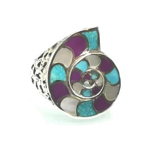 925 Sterling Silver Turquoise Howlite Mother of Pearl Shell Ring