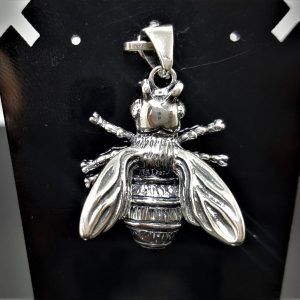 Bumble Bee STERLING SILVER 925 Bee Pendant Charm Honey Bee Apiary Jewelry Good Luck Talisman Amulet Exclusive Gift