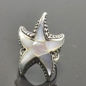 925 Sterling Silver Starfish Natural Mother of Pearl Ring