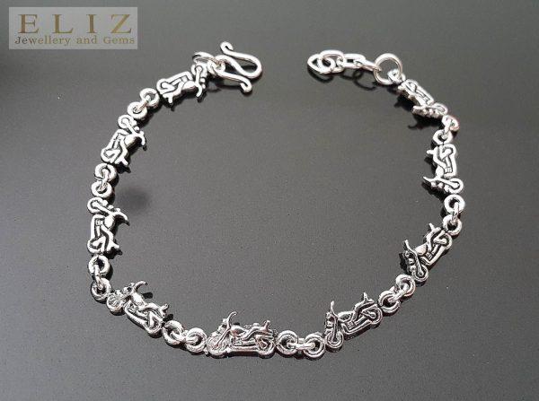 925 Sterling Silver Motorcycle Link Bracelet