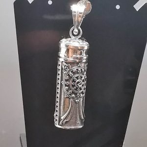 Locket Bottle Sterling Silver 925 Water Tight Perfume/Essential Oil Locket/Pendant Onyx Secret compartment for Ashes locket