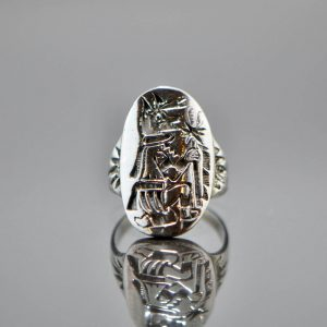 925 Sterling Silver Anubis Shield Ring Egyptian Symbol