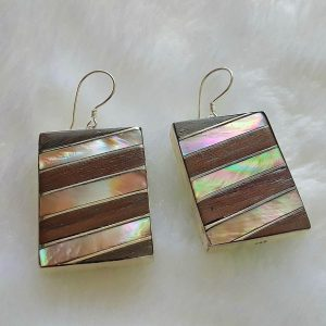 Sterling Silver 925 Earrings Mother of Pearl & Wood Exclusive Combination Unique design one of a kind