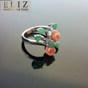 925 Sterling Silver Ring Genuine Precious Emerald & Coral Roses Bouquet SZ 6,8,9