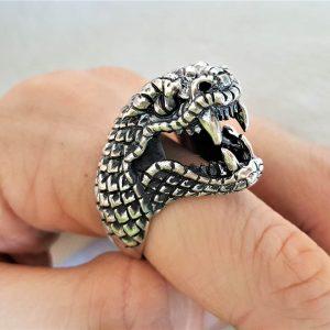 Viper 925 Sterling Silver Ring Large SNAKE Ring Viper Head biker goth punk rocker Large Snake Exclusive Design