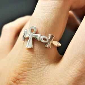 Egyptian Ankh 925 Sterling Silver Cross Ring Egyptian Hieroglyphic Symbol Key of Life Cross Talisman Amulet