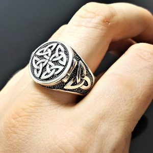 Trinity Celtic Knot Sterling Silver 925 Locket Ring Sacred Symbols Talisman Protective Amulet Occult Secret Compartment