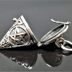 925 Sterling Silver Locket Pendant Pentagram Star Trinity Celtic Knot Sacred Symbols Talisman Protective Amulet Occult Secret Compartment