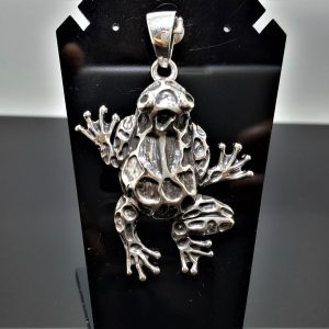 Frog 925 Sterling Silver Pendant Black Onyx Eye Large Frog Good Luck Ring Talisman Amulet Exclusive Design