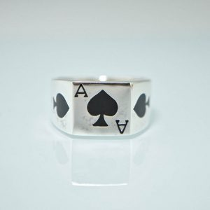 Ace Of Spades 925 STERLING SILVER Ring Gambler Cards Good Luck Winner Biker Goth Punk Rock