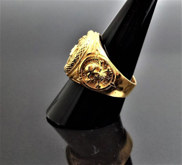 All Seeing Eye Pyramid STERLING SILVER 925 Ouroboros Ring OWL Skull and bones Snake Eating Tail Sacred Symbol Talisman 22K Gold Plated
