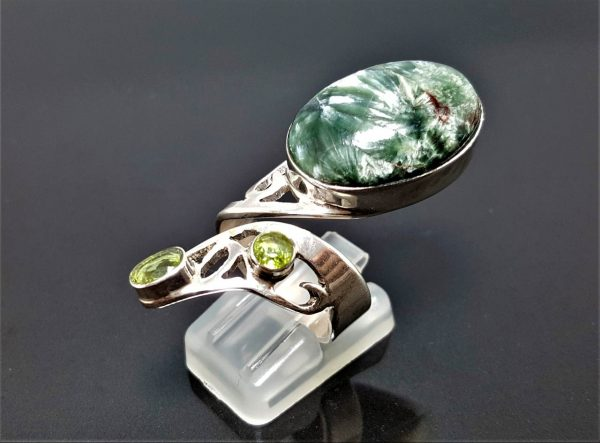Rare Russian Seraphinite Peridot STERLING SILVER Ring Seraphim Angel Feather Exclusive Design One of a kind Adjustable Size