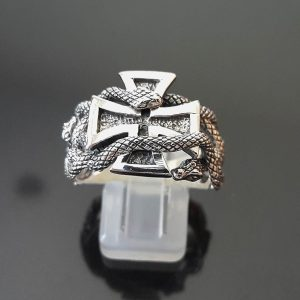 Sterling Silver 925 Ring Iron Cross Snakes Alchemical Symbol Sacred Talisman Amulet Exclusive Gift