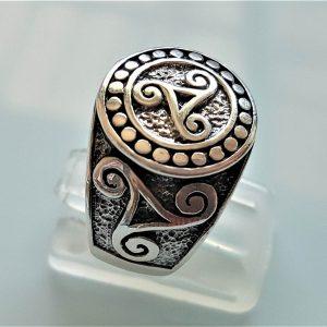 Triskelion STERLING SILVER 925 Ring Trinity Symbol Infinity Alpha Beta Omega Sacred Symbol Talisman Amulet Spiritual