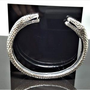 Snakes Head Bracelet STERLING SILVER 925 Double Headed Snake Talisman Amulet Good Luck Heavy 44.6 grams
