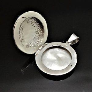 Locket STERLING SILVER 925 Pendant Floral Design Picture Frame Talisman Amulet Good Luck Gift