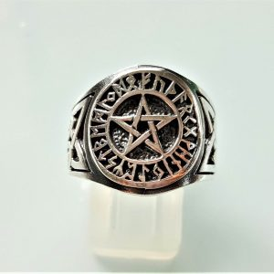 Pentagram Star 925 Sterling Silver Ring Pentacle Runes Runic Sacred Symbols Wicca Talisman Protective Amulet Exclusive Gift