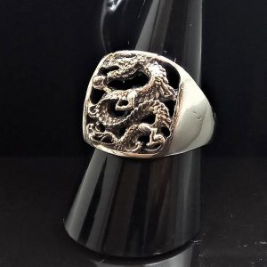 Chinese Dragon 925 Sterling Silver Ring Exclusive design Ancient Sacred Symbol Good Luck Talisman Amulet