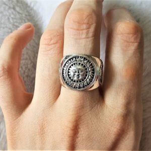 Ouroboros STERLING SILVER 925 Ring Sun God Vegvisir Runic Compass Celestial Divine Talisman Protective Amulet Sacred Symbol Divinity Sun God