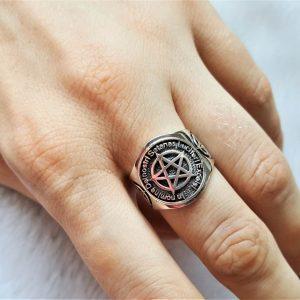 Pentagram 925 Sterling Silver Ring Star Lucifer Occult Sacred Symbols Gothic Medieval Gift