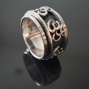 925 Sterling Silver Ohm AUM Unisex Ring Spinner Harmony Anti Stress Fidget Meditation Kinetic