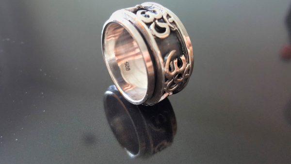925 Sterling Silver Ohm AUM Unisex Ring Spinner Harmony Anti Stress Fidget Meditation Kinetic