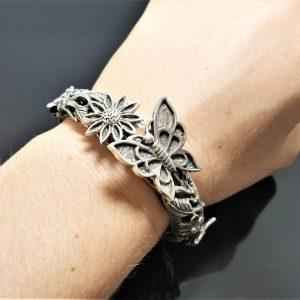 Butterfly STERLING SILVER 925 Bracelet Floral Motive Flower & Butterflies Nature Bracelet Handmade Silver gift