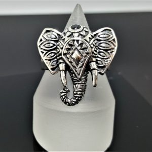 Elephant 925 Sterling Silver Ring Ganesha Blessing Lord of Success Wealth Wisdom Ohm Aum Talisman Amulet Good Luck