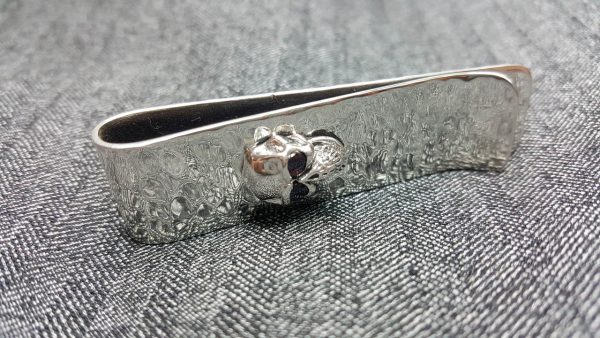 Money Clip STERLING SILVER 925 Skull with Natural GARNET Eyes Biker Roker Fathers Day Graduation Gift for Male Mans Birthday Gift for Him