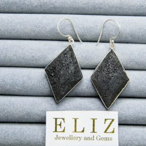 "Sterling Silver 925 Natural Volcanic Lava EARRINGS ""Energy Crystal"" 8 grams"