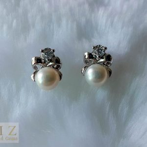 Pearl Stud Earrings 925 Sterling Silver Natural White Freshwater Pearl & Cubic Zirconia Stud Earrings Bridal