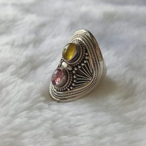 Tourmaline 925 Sterling Silver Ring Genuine Pink & Yellow Precious Gemstone Exclusive Handmade Gift Size 7.5