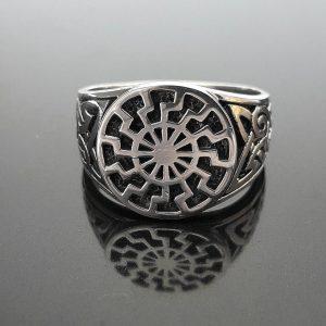 925 Sterling Silver Ring Stunning Mammen Ornament Sun Symbol Viking Pagan Talisman Amulet
