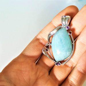 AQUAMARINE Pendant STERLING SILVER 925 Genuine Garnet Ametyst Natural Gemstones Exclusive Design Handmade Talisman Amulet