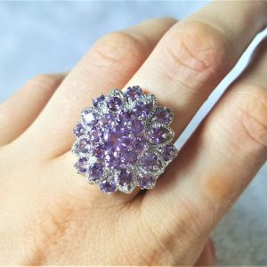 Genuine Amethyst STERLING SILVER 925 Ring Natural Faceted Gemstone Exclusive Flower Design Size 8.5