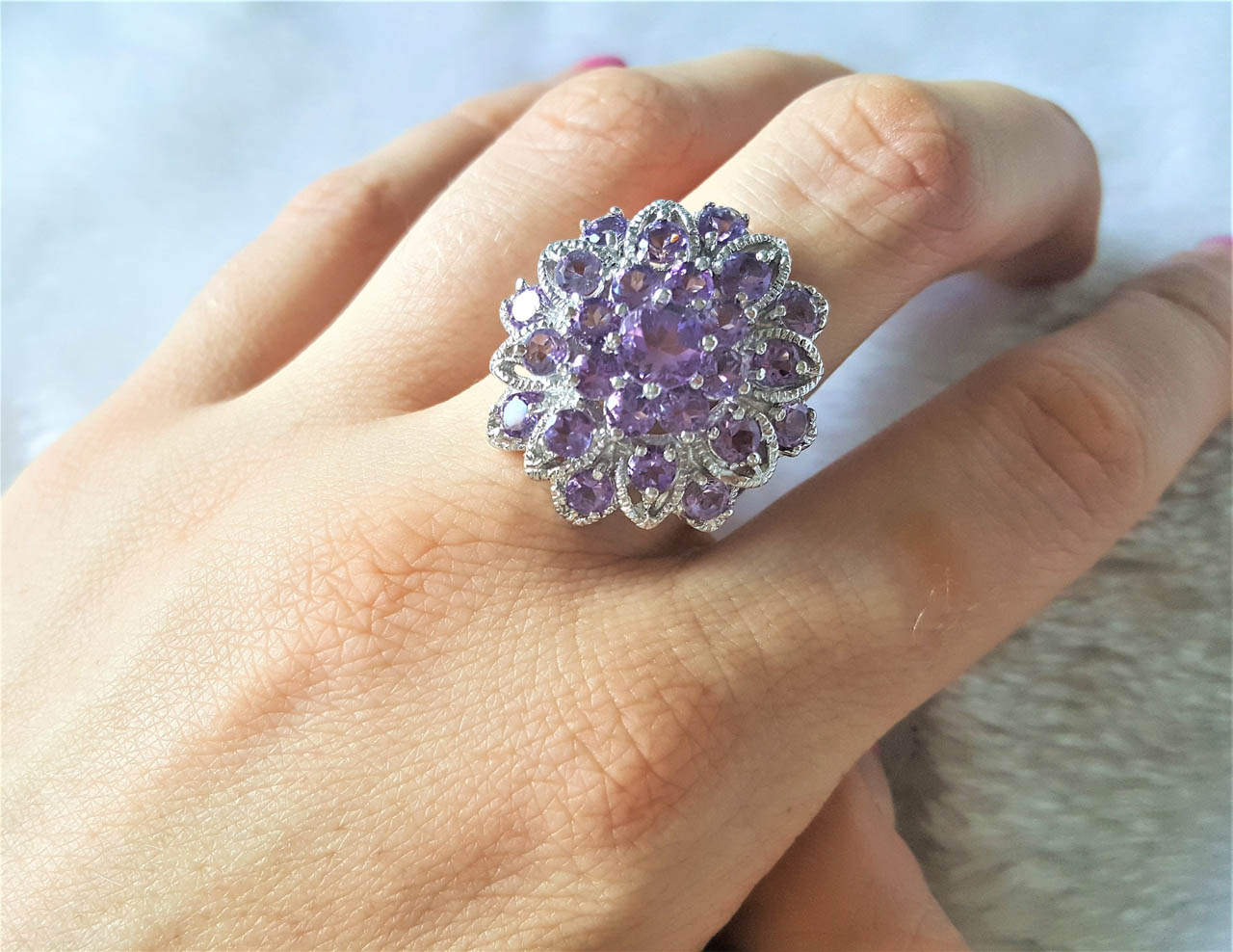 size 7.5 gold /& silver Genuine Gemstones Amethyst Pyramid Ring