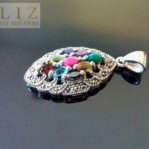 925 Sterling Silver Pendant Genuine Precious Gems Multi Stone & Marcasite Ruby Citrine Emerald Garnet Blue Topaz Talisman Amulet