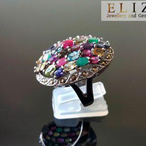 925 Sterling Silver Ring Genuine Precious Gemstones Multi Stone & Marcasite Emerald Ruby Blue Topaz Sapphire Amethyst Citrine Garnet