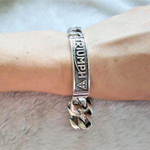 STERLING SILVER 925 Man's Bracelet Chain Link Bracelet Triumph Biker Rocker Motorbike 9 inches