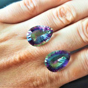Mystic Topaz 2 pcs LOT Loose Genuine Gemstones Multi Color Rainbow 13x18 mm Pear Shape Concave Cut Stone Faceted