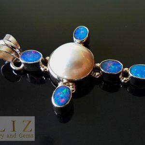 Genuine Australian Opal & Mobe Pearl Sterling Silver Cross Pendant Exclusive Gift Precious Gemstones Talisman/Amulet