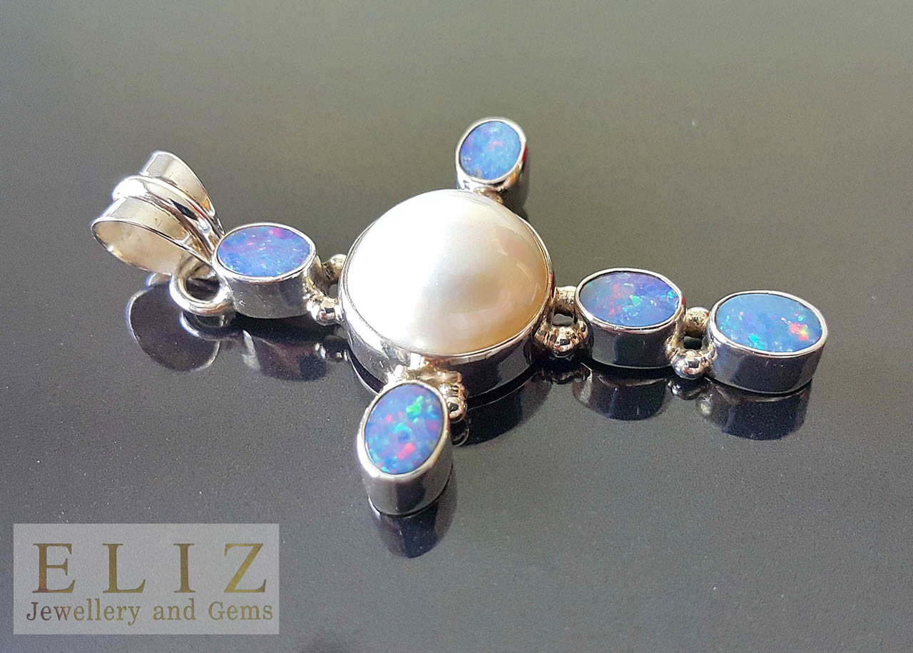 1 1116 Mother Of Pearl Shell Amazing Big Australian Opal 925 Sterling Silver Pendant