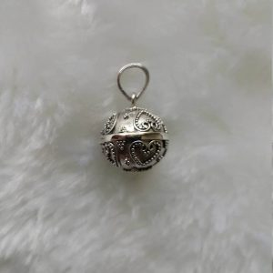 Chime Sterling Silver 925 Pendant Angel Sound Harmony PREGNANCY Heart Bali Bell Chime Pendant Talisman Amulet