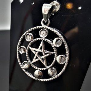 Moon Phases STERLING SILVER 925 Pentagram Pendant Five Pointed Star Energy Balance Astrology Sacred Symbols Occult Talisman Amulet