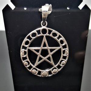 Pentagram STERLING SILVER 925 Moon Phases Five Pointed Star Energy Balance Astrology Sacred Symbols Talisman Amulet