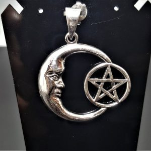 Crescent Moon Sterling Silver 925 Pendant Occult Pentagram Star Pagan Wiccan Star Crescent Moon Celestial Sacred Talisman Amulet
