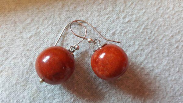 925 Sterling Silver Balinese Natural Genuine Red Coral Earrings
