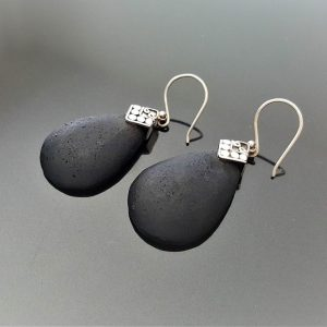 Lava Earrings Sterling Silver 925 Natural Volcanic Lava Energy Crystal Essential oil diffuser Pear Shape