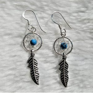 Dream Catcher 925 Sterling Silver Earrings with Turquoise Beads American Indian Chief Talisman Amulet Feather